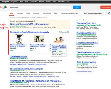 Una página de Google con Google Shopping como protagonista