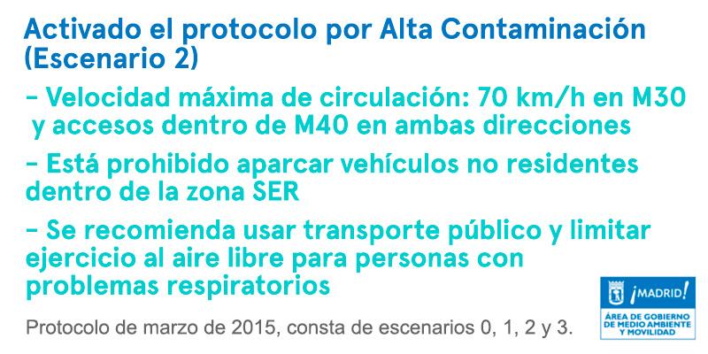 Protolo por alta contaminación Madrid